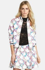 Lucca Couture Floral Baseball Bomber at Nordstrom