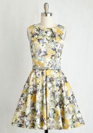 Luck Be a Lady Dress in Saffron Florals at ModCloth