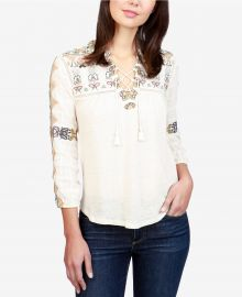 Lucky Brand Embroidered Lace-Up Top cream at Macys