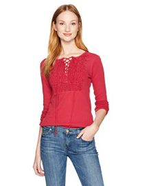Lucky Brand Lace Up Bib Thermal Top at Amazon
