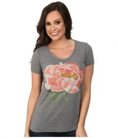 Lucky Brand Coral Flower Tee Heather Grey at 6pm