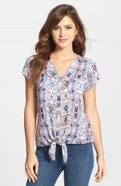 Lucky Brand Diamond Print Tie Front Top at Nordstrom