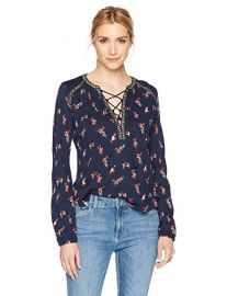 Lucky Brand Ditsy Lace Up Peasant Top at Amazon