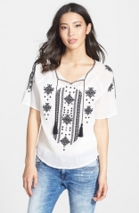 Lucky Brand Embroidered Cotton Peasant Top at Nordstrom