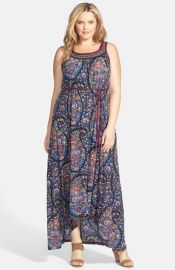 Lucky Brand Exploded Paisley Print Jersey Maxi Dress at Nordstrom