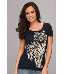 Lucky Brand Floral Tiger Tee American Navy at Zappos