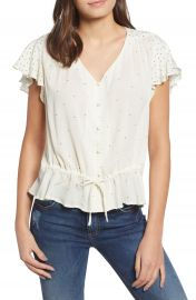 Lucky Brand It Girl Flutter Sleeve Top   Nordstrom at Nordstrom