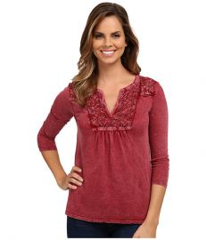 Lucky Brand Lace Placket Top Rich Dark Red at 6pm