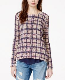 Lucky Brand Layered Contrast Plaid Sweater at Macys