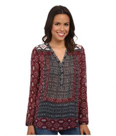 Lucky Brand Mix Borderprinted Peasant Red Multi at Zappos