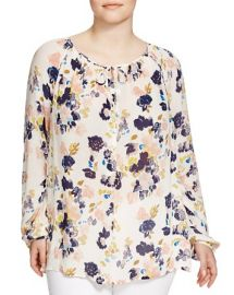 Lucky Brand Plus Floral Print Keyhole Blouse at Bloomingdales