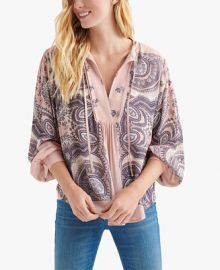 Lucky Brand Printed Tie-Neck Blouson Top   Reviews - Tops - Women - Macy s at Macys