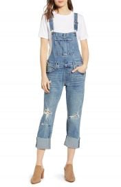 Lucky Brand Ripped Cuffed Denim Overalls   Nordstrom at Nordstrom