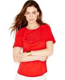 Lucky Brand Short-Sleeve Eyelet Blouse in Red at Macys