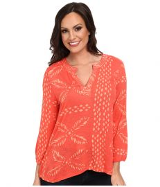 Lucky Brand Stitched Motif Top Pink Multi at 6pm