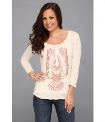 Lucky Brand Studded Owl Tee Heather Oatmeal at Zappos