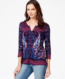 Lucky Brand Three-Quarter-Sleeve Printed Top at Macys