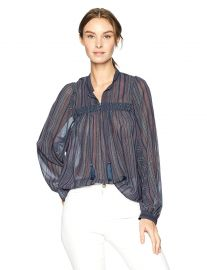Lucky Brand Women s Border Print Peasant Top in Multi at Amazon