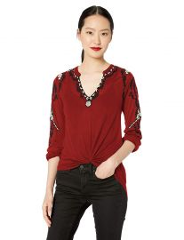 Lucky Brand Women s Embroidered Sleeve Peasant TOP at Amazon