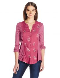 Lucky Brand Women s Printed Henley at Amazon