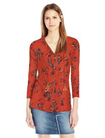 Lucky Brand Women s Printed Peasant Top at Amazon