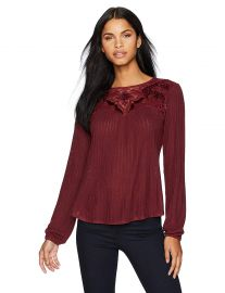 Lucky Brand Women s Velvet Applique Yoke Top at Amazon