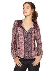 Lucky Brand Women s Vintage Mixed Print Top at Amazon