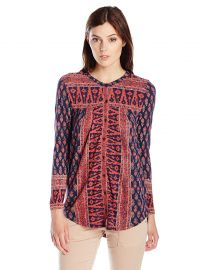 Lucky Brand Women s Woodblock Printed Top at Amazon