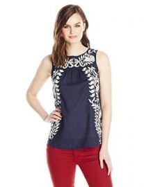 Lucky Brand Womenand39s Emboridered Shell Top at Amazon