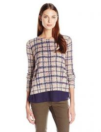 Lucky Brand Womenand39s Plaid Printed Pullover Sweater at Amazon