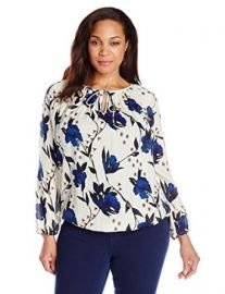 Lucky Brand Womenand39s Plus-Size Floral Peasant Top at Amazon