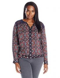 Lucky Brand Womenand39s Plus-Size Ikat Geo Top at Amazon