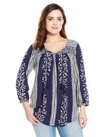 Lucky Brand Womenand39s Plus-Size Mixed-Print Top in Blue at Amazon