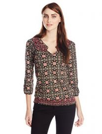 Lucky Brand Womenand39s Tiles Smocked Top at Amazon