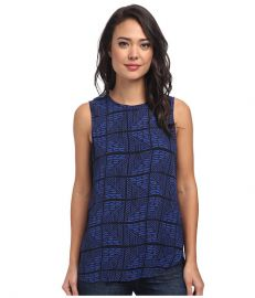Lucky Brand Zig Zag Print Top Blue Multi at Zappos