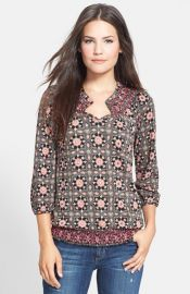 Lucky Brand and39Tilesand39 Smocked Top at Nordstrom