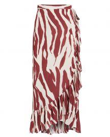 Lucky Wrap Zebra Midi Skirt at Intermix