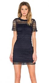 Lucy Paris Embroidered Overlay Dress in Navy from Revolve com at Revolve