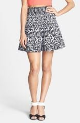 Lucy Paris Intarsia Knit Flared Skirt at Nordstrom