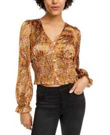 Lucy Paris Paisley Smocked Cropped Top   Reviews - Tops - Juniors - Macy s at Macys