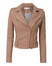 Luiga Pink Cropped Leather Jacket at Intermix