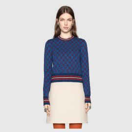 Lurex GG jacquard sweater at Gucci