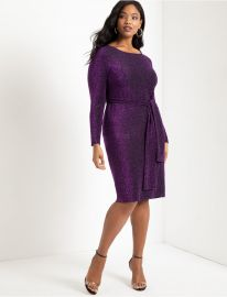 Lurex Tie Waist Dress at Eloquii
