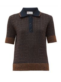 Lurex-check knitted polo shirt at Matches