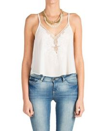 Lush Embroidered Tank in white at Nordstrom