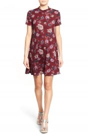 Lush Floral Print Mock Neck Dress at Nordstrom
