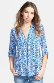 Lush Roll Tab Sleeve Woven Shirt at Nordstrom