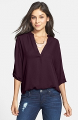 Lush Roll Tab Sleeve Woven Shirt in purple at Nordstrom