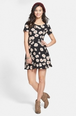 Lush Short Sleeve Skater Dress at Nordstrom