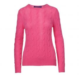 Lux Bright Pink Cable Knit Cashmere Sweater at Ralph Lauren